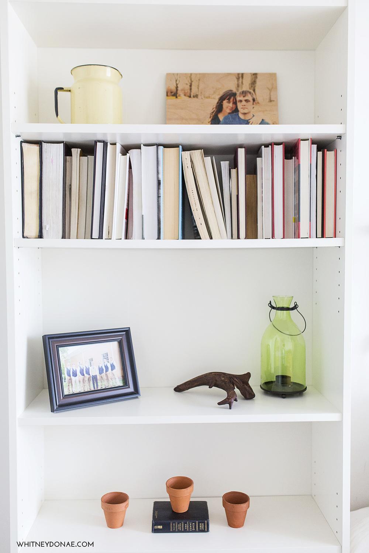 styled bookshelf