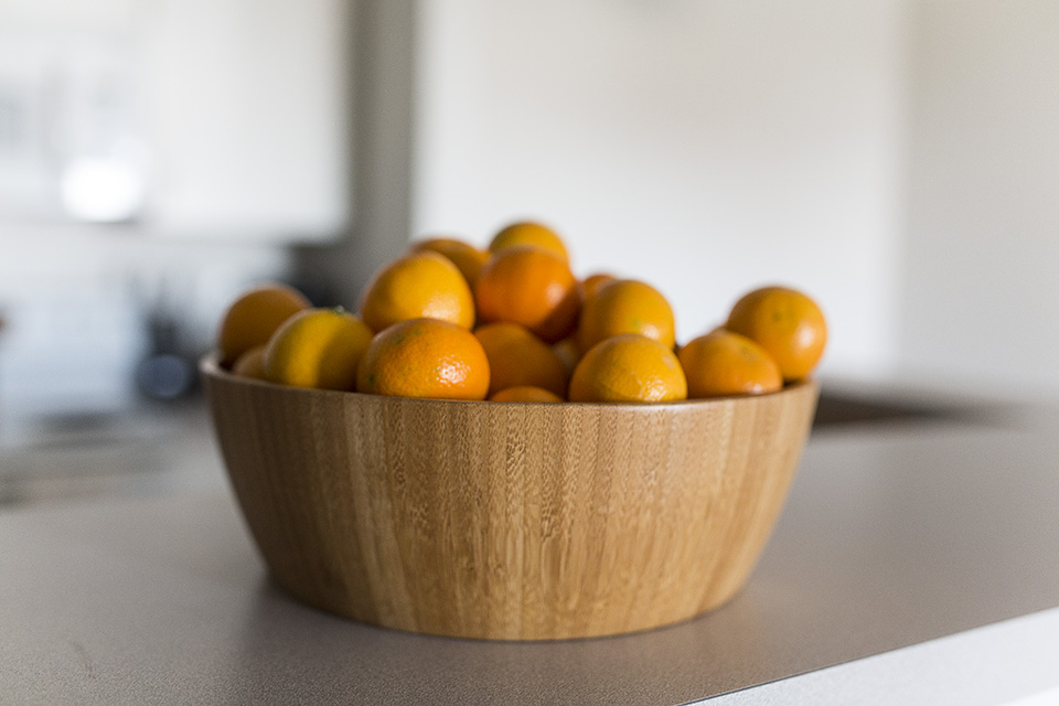 Decorate with Fruit-Oranges in a Wooden Bowl