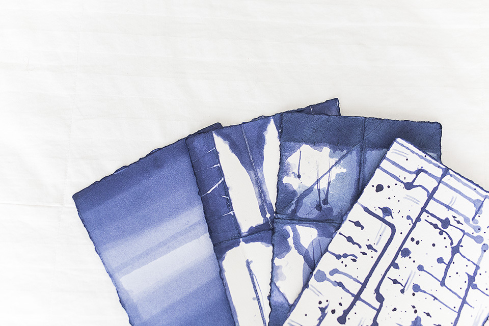 Whitney Donáe- Indigo Dyed Paper Art