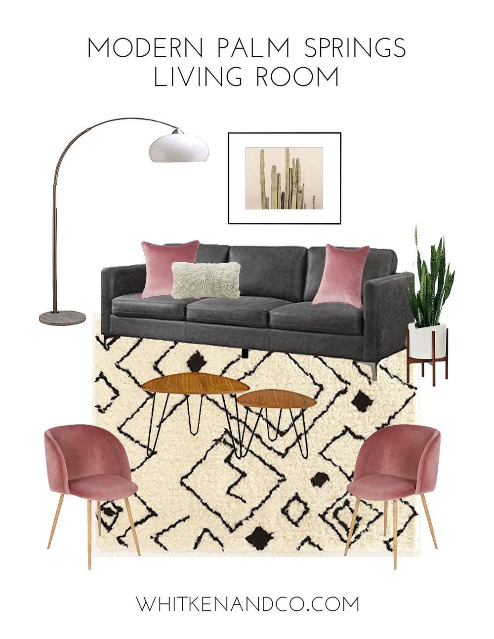 Modern Palm Springs Living Room Mood Board