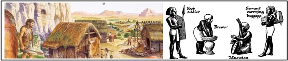Surpluses of food and other goods led to specialization of labor, including new classes of artisans and warriors, and the development of elites.