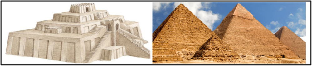 A. Early civilizations developed monumental architecture and urban planning (Ziggurats, Pyramids, Defensive walls)