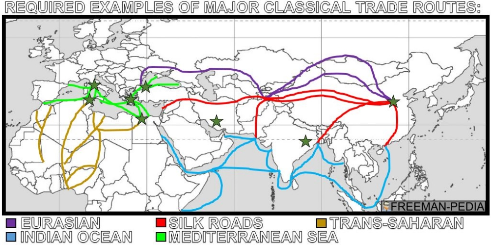 A. Many factors, including the climate and location of the routes, the typical trade goods, and the ethnicity of people involved, shaped the distinctive features of a variety of trade routes.