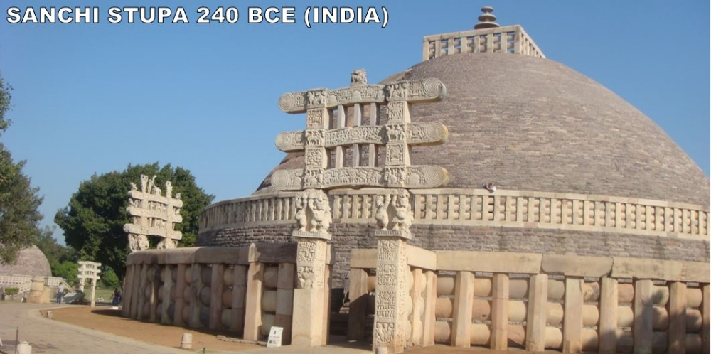 You are looking at the oldest stone structure in India.  It's a stupa.  Stupas are round structures usually housing Buddhist relics.  Buddhists use Stupas as places of meditation.  This one was commissioned by Ashoka himself.  His wife directly oversaw the construction as Sanchi was both her hometown and the site of her marrage to Ashoka.