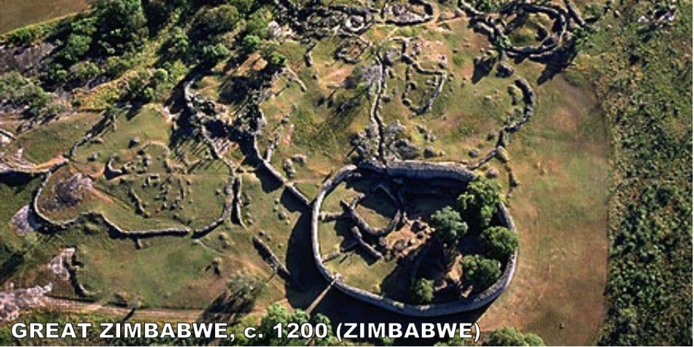 "What's the Greatest thing in Zimbabwe? A: Great Zimbabwe.  I know what you're thinking, ""The other buildings/art in this era are more impressive.  But, it was built 5,000 miles south of Europe.  It's the second oldest structure in Southern Africa.  It once held 18,000 people.  The walls are built without mortar! So, don't hate on Great Zimbabwe... It was the seat of one of the greatest kingdoms in Southern Africa."