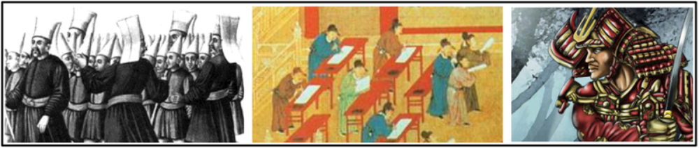 C. Recruitment and use of  bureaucratic elites ,  as well as the development  of military professionals, (  Ottoman devshirme ,  Chinese examination system ,  Salaried samarai  ) became more common among rulers who wanted to maintain centralized control over their populations and resources.