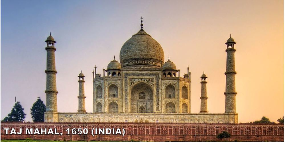 Maybe the most famous building on earth not named the Pyramids.  Built by Shah Jahan as a mausoleum for his wife,Mumtaz Mahal. Mumtaz Mahal died giving birth to her 14th child.  It took over 21 years to complete and remains one of the true marvels of architecture on the planet.
