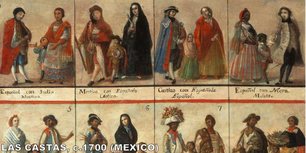 Castas (Castes) were paintings that were used in Latin America to delineate between the new groups of people that were being born when Europeans, Africans, and Americans intermarried.  The whiter you were, the higher your class in society.