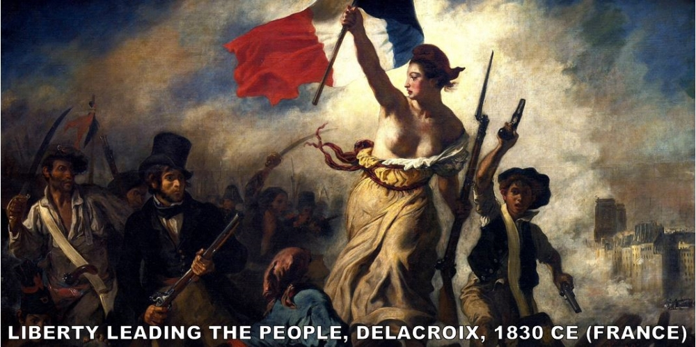 "I know what you're thinking…  This is a painting of the French Revolution of 1789!   This is a common misconception.  This is actually used to depict the 1830 French Revolution.  Delacroix, who was already a world-famous painter famously said, "" if I haven't fought for my country at least I'll paint for her ."" If the lady in the middle looks familiar, it's because she as the model used for the Statue of Liberty. This painting has come to symbolize the anti-monarchist revolutions of the 19th century."
