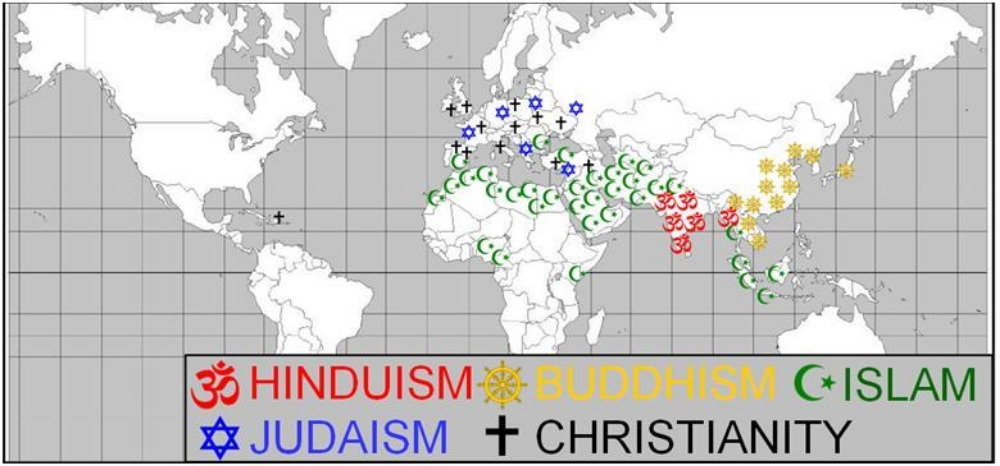 the sol wants you to know where the 5 major religions of the world were in