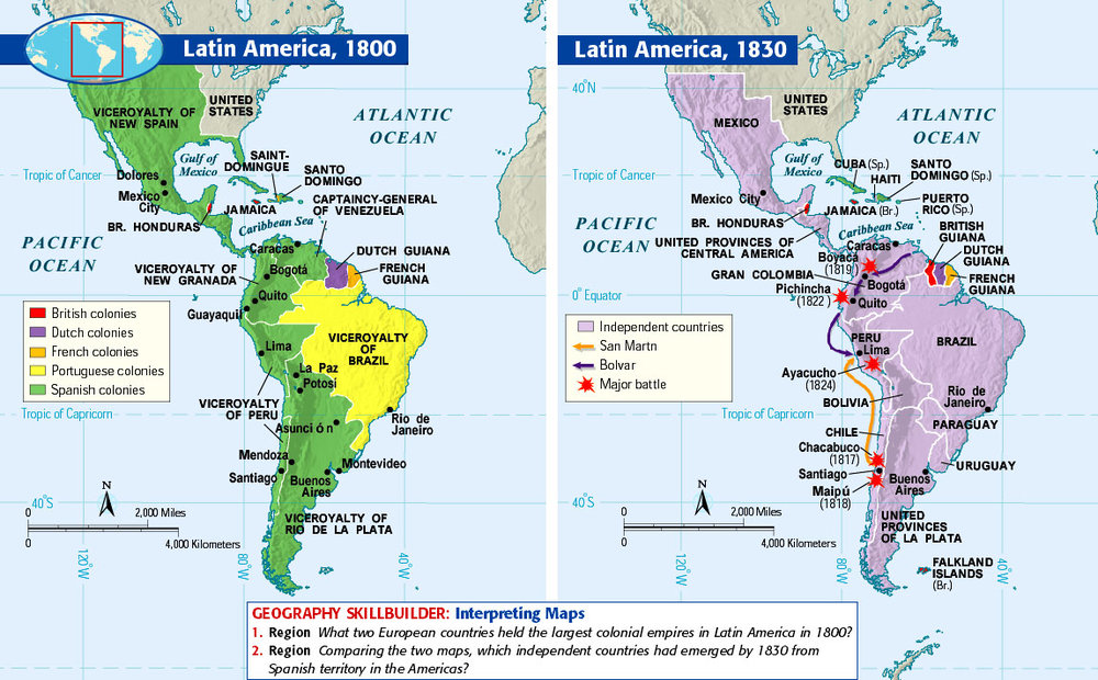 Colonial South America Map.Latin American Independence Freemanpedia