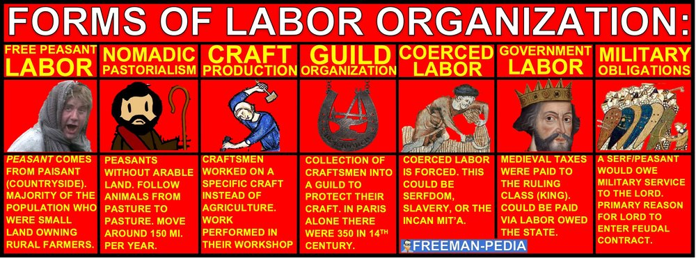 A. The diversification of labor organization that began with settled agriculture continued in this period. Forms of labor organization inluded free peasant agriculture, nomadic pastorialism, craft production and guild organization, various forms of coerced and unfree labor, government imposted labor, and military obligations.