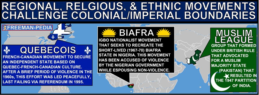 B. Regional (Quebecois), religious (Muslim League in British India), and ethnic movements (Biafra Movement in Nigeria) challenged both colonial rule and inherited imperial boundaries.