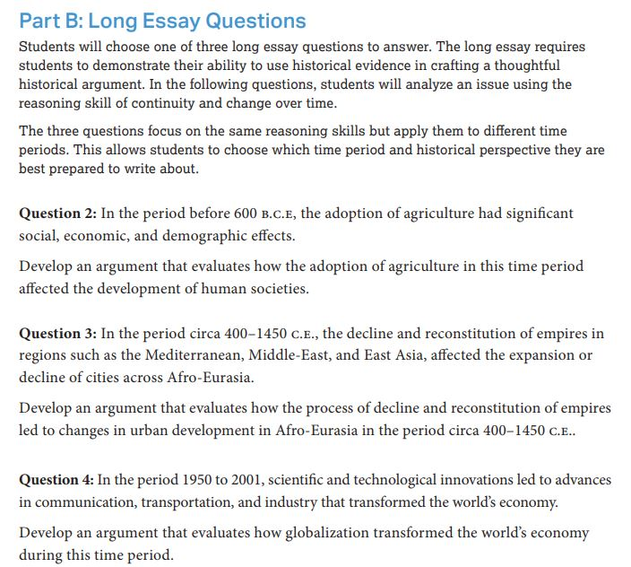 world history essay questions