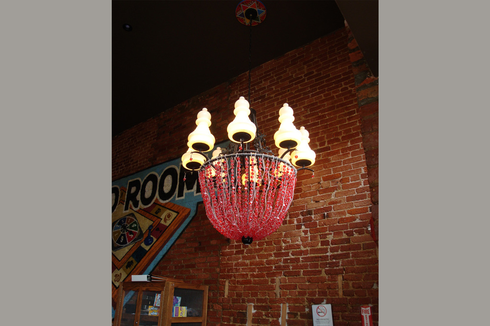 Cast iron and dice chandelier