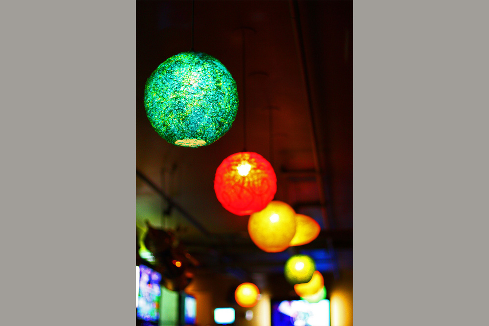 Spaghetti Lamps Over Bar