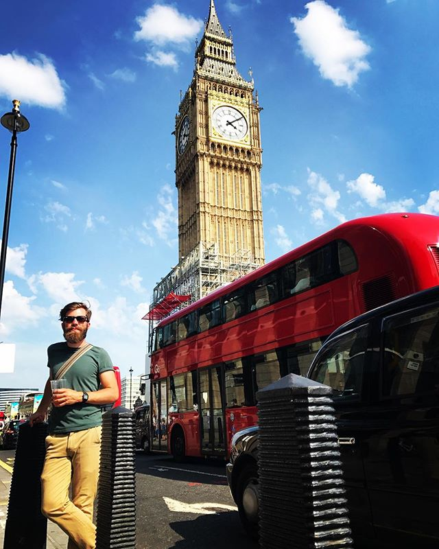 #tbt to @larslj sipping a beer with the perfect London trio backdrop: #bigben, #doubledeckerbus, & #blackcab.  Loved the open container law to visit the sites!