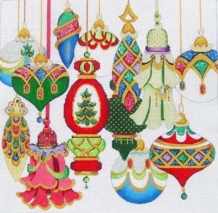 multicolor christmas ornaments square strictly christmas chp 01 - Strictly Christmas Needlepoint