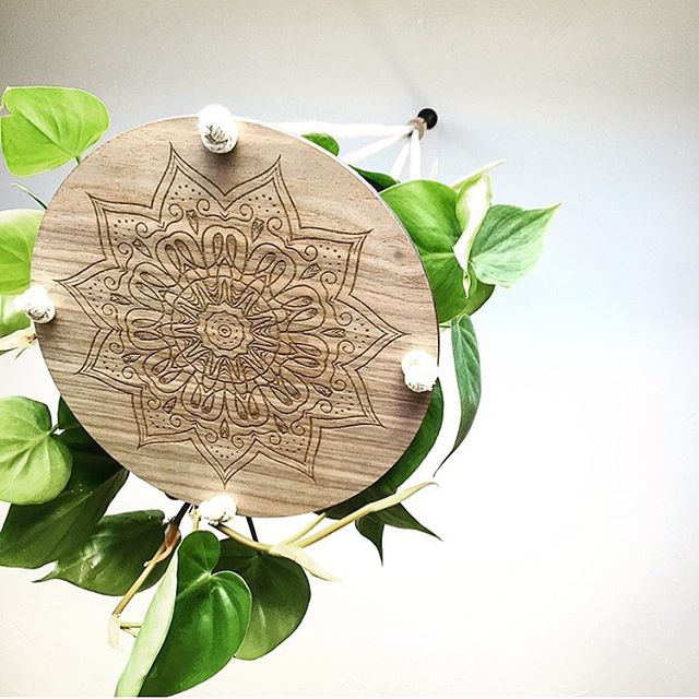 The snow may be headed our way but it's looking nice and tropical indoors 🌴 ☀️ 🌱 shop for our Mandala Plant hanger via the link in our profile! Featured here in walnut.