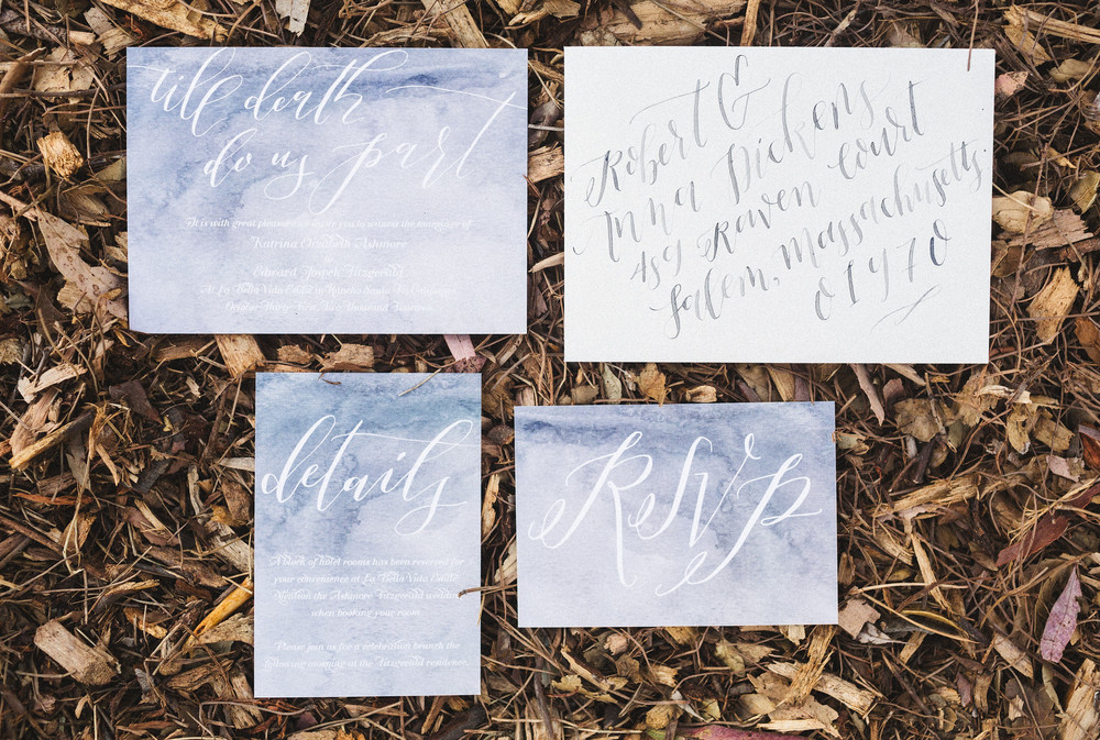 gray watercolor wedding invitations
