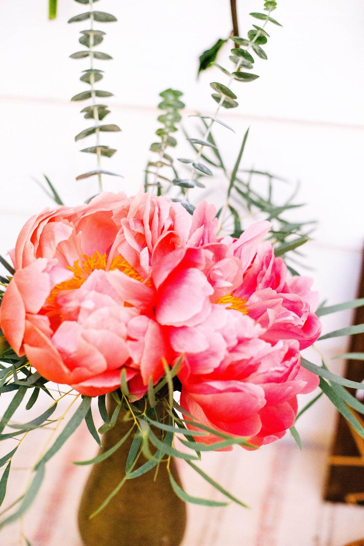 Peony in copper vase