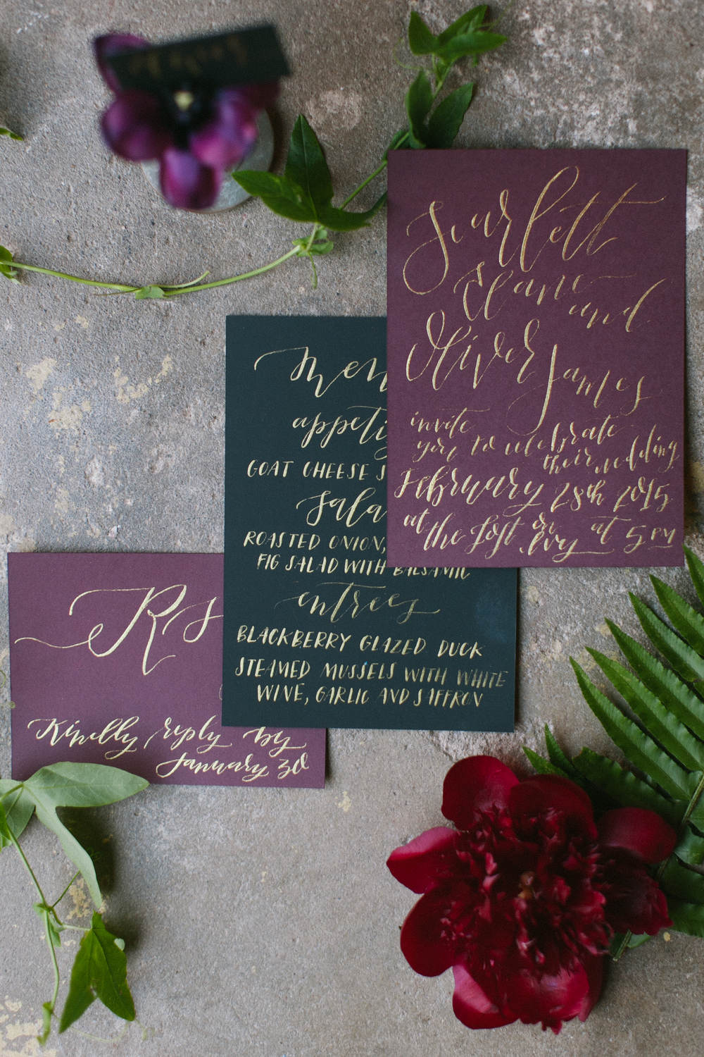 Plum black gold calligraphy invitations