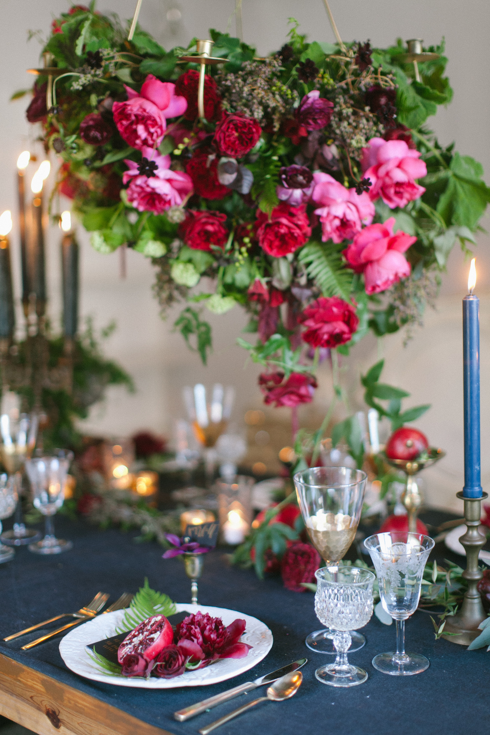 midnight garden tablescape