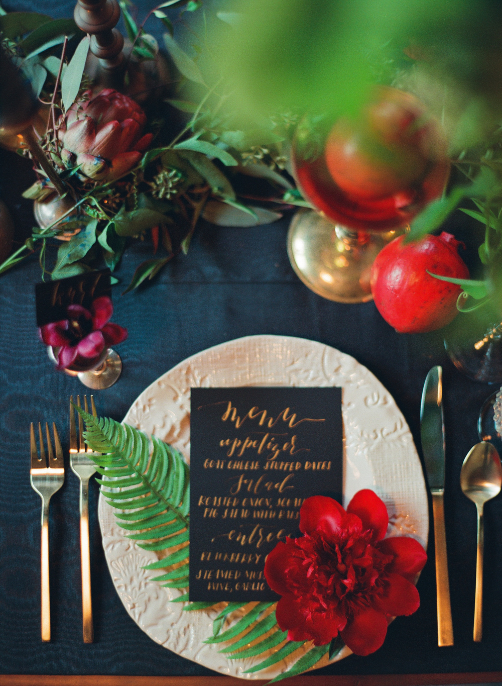 gold and black calligraphy menus