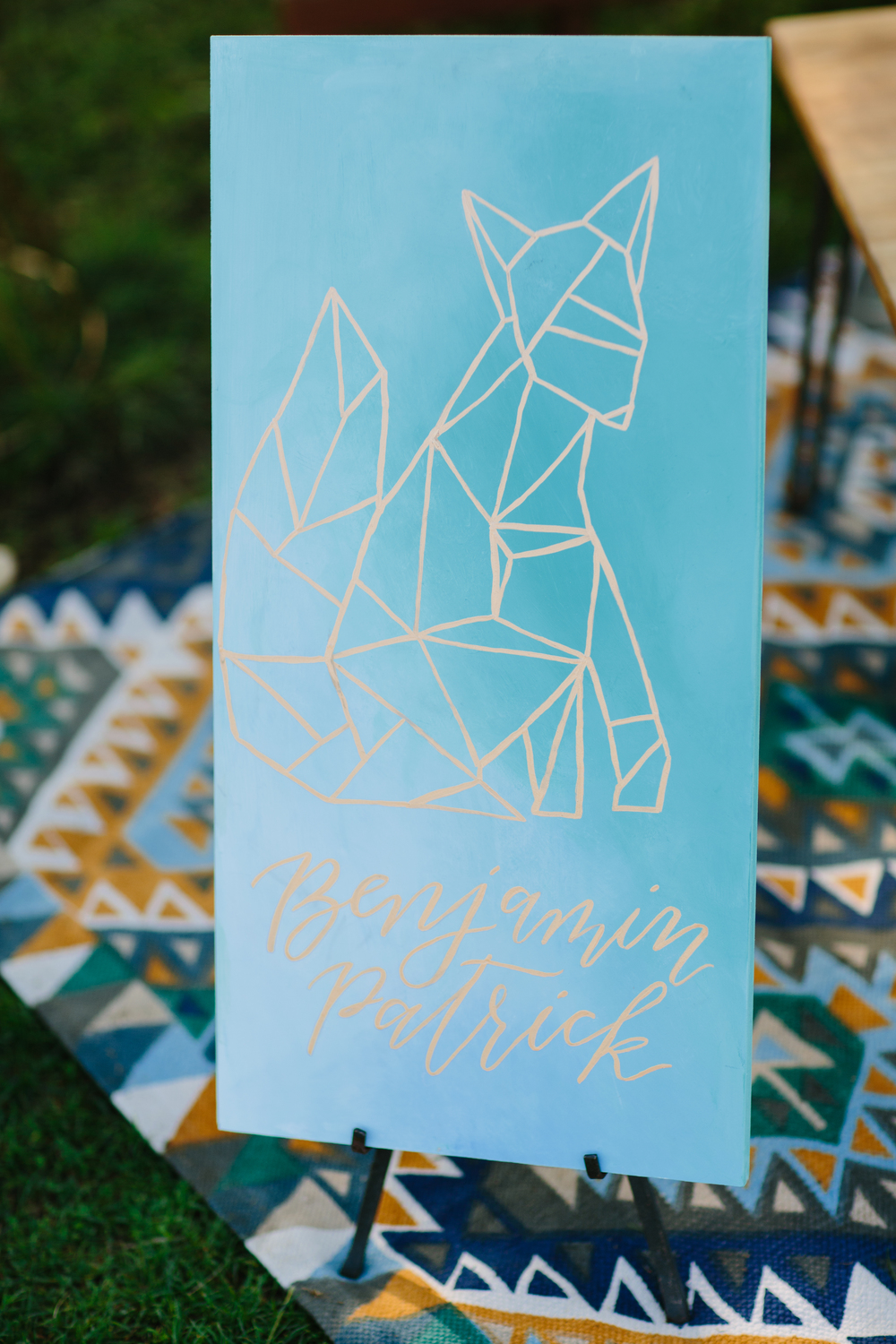 Geometric baby shower signage