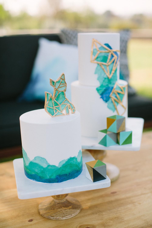 modern dip dye baby shower cake