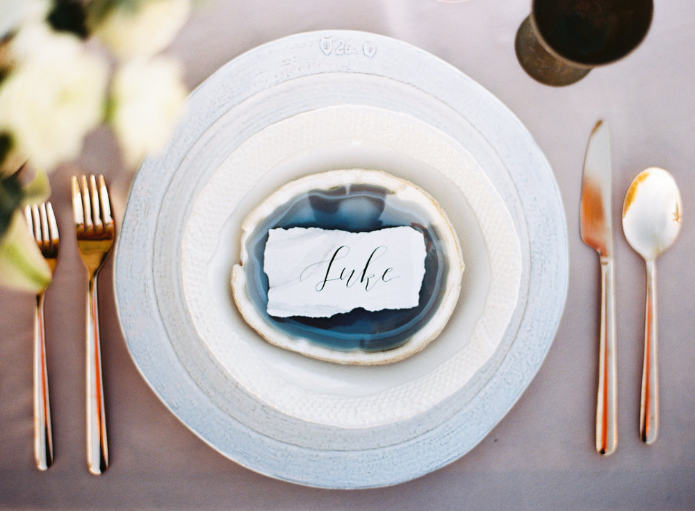 neutral wedding place cards