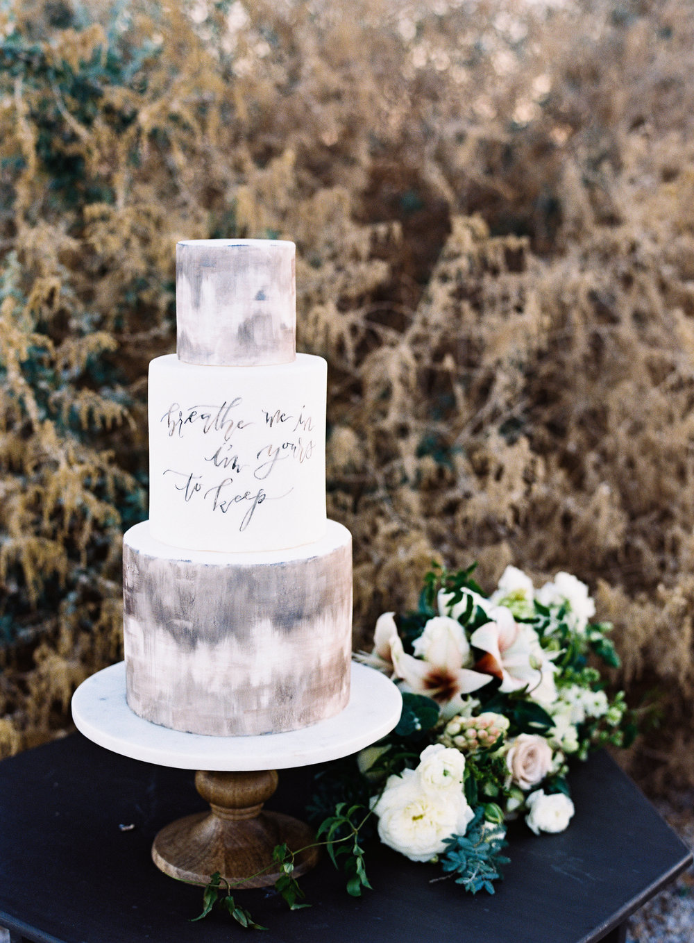 neutral marble wedding cake