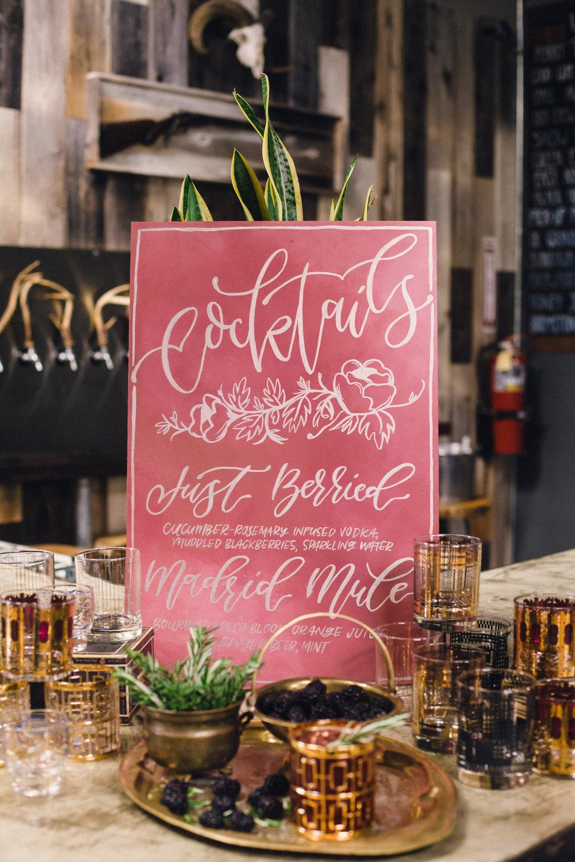 Marsala wedding signage