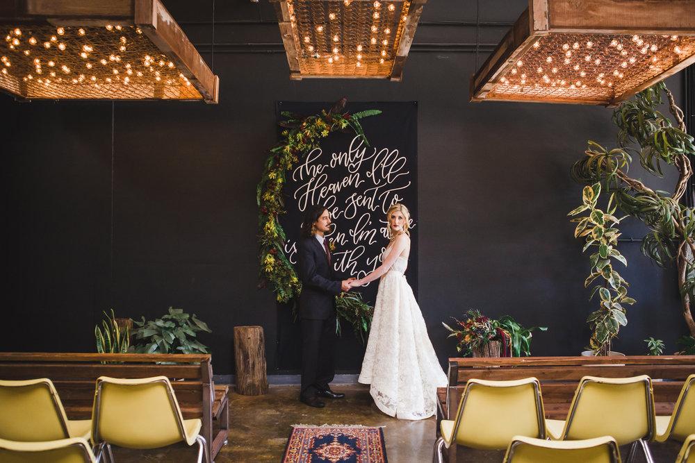 Dark marsala wedding ceremony