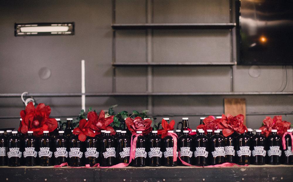 Beer growler wedding favors