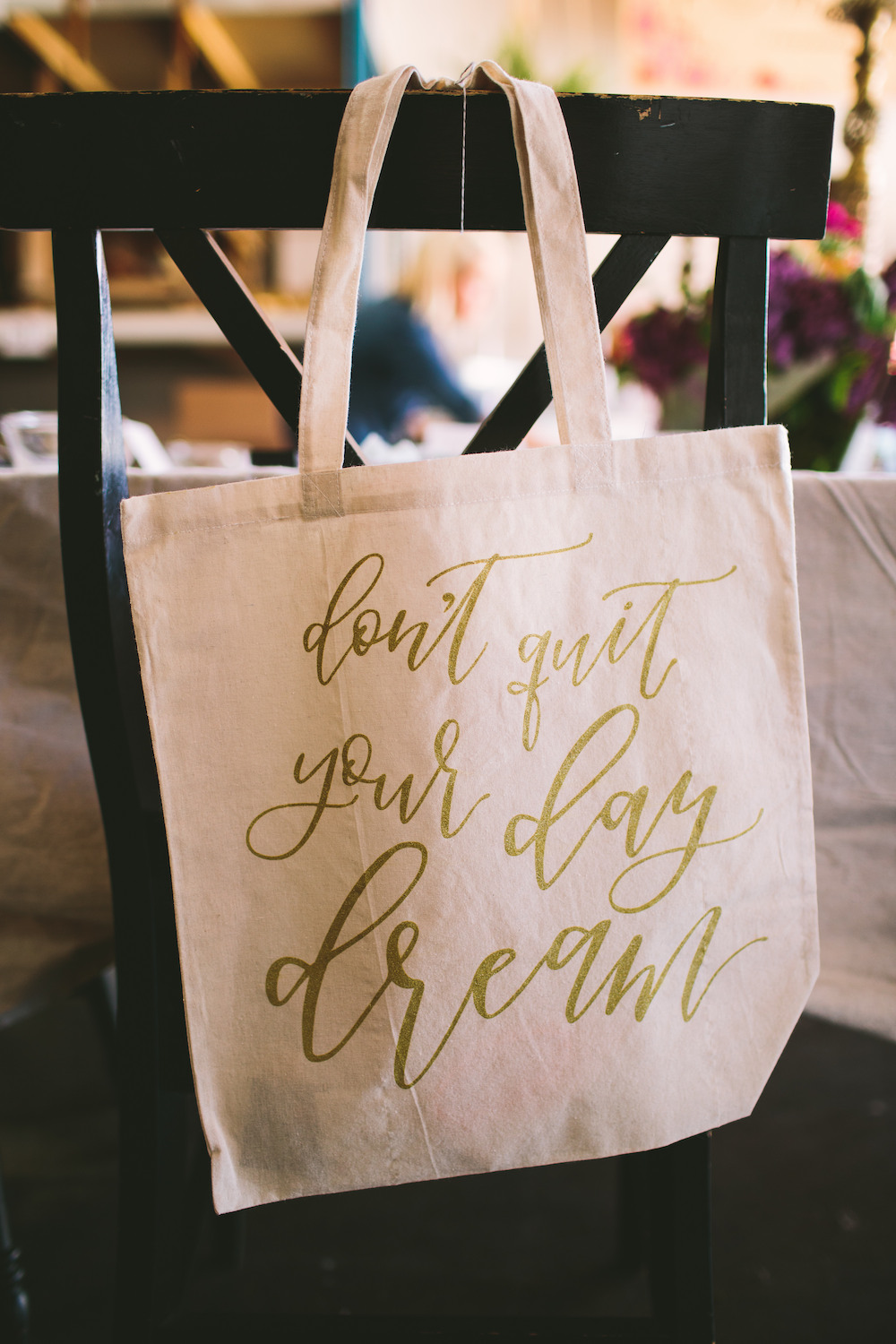 Each attendee takes home this customized tote bag that was created as a collaboration with The Printed Palette
