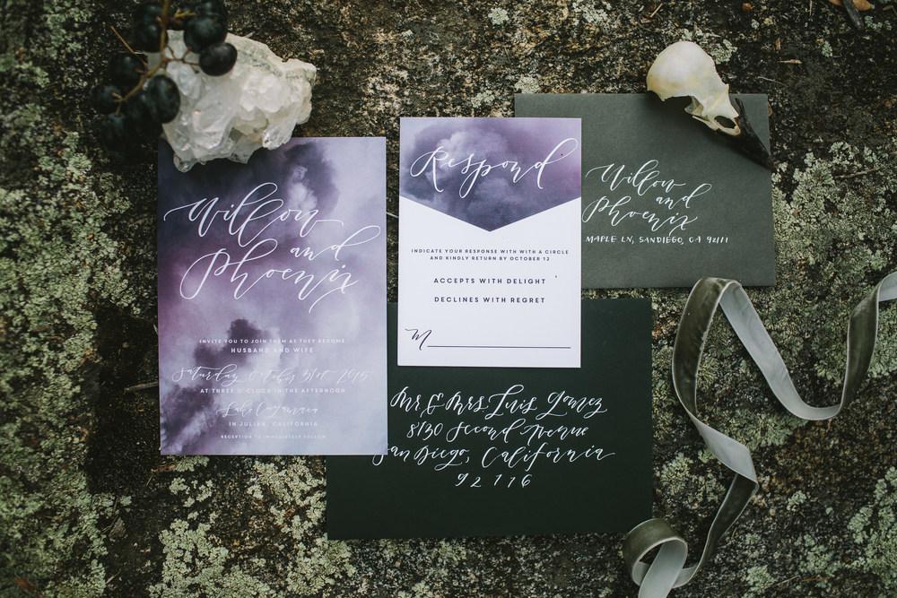 Halloween inspired wedding invitations