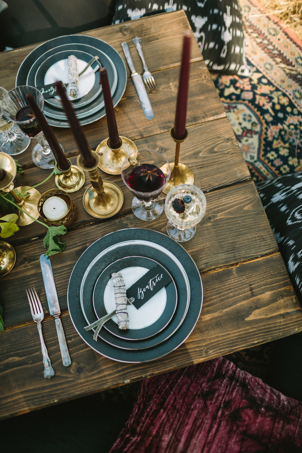 Dark and moody tablescape