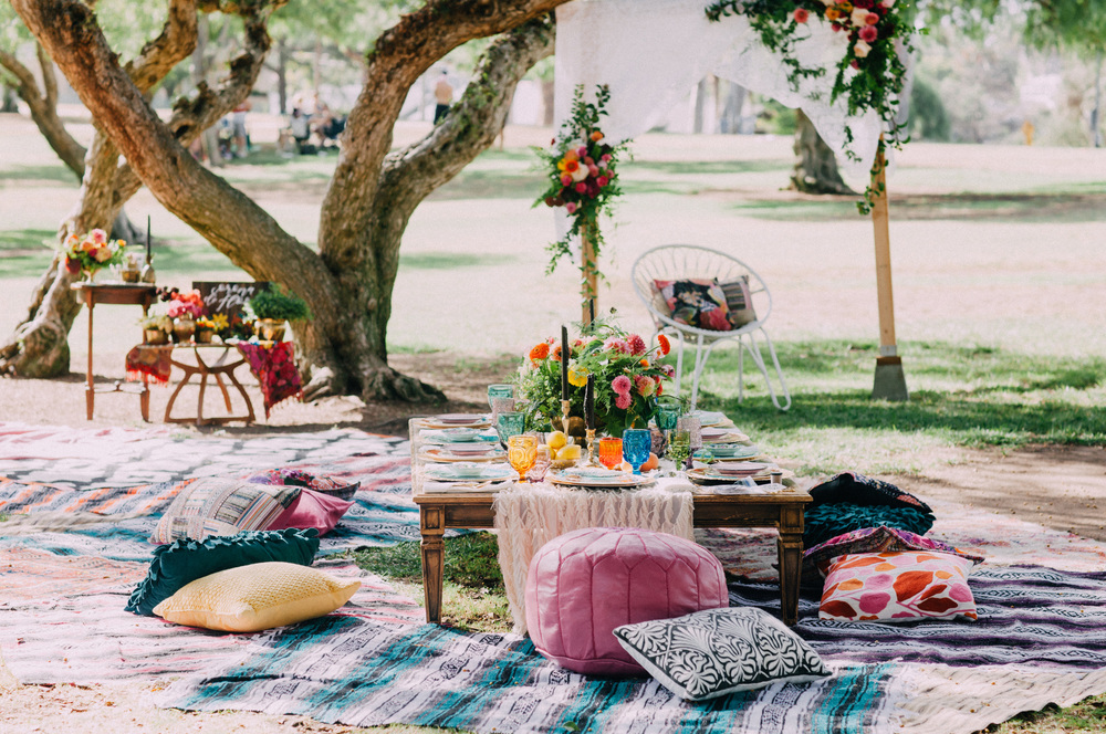 Mexican bohemian bridal shower set up