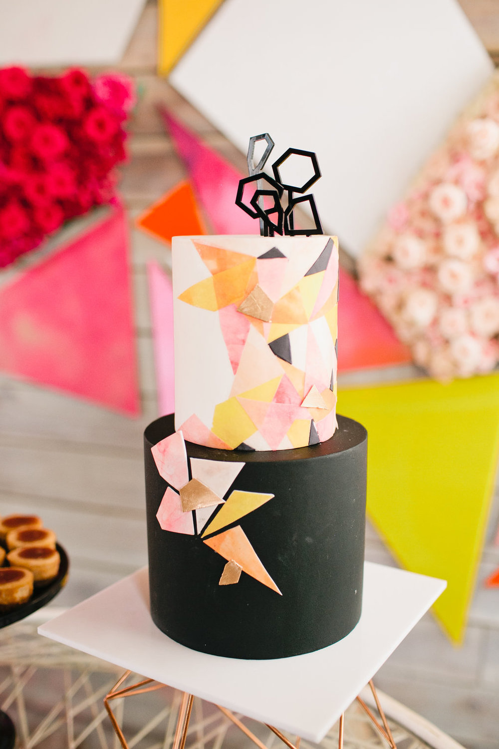 Black and colorful geometric cake