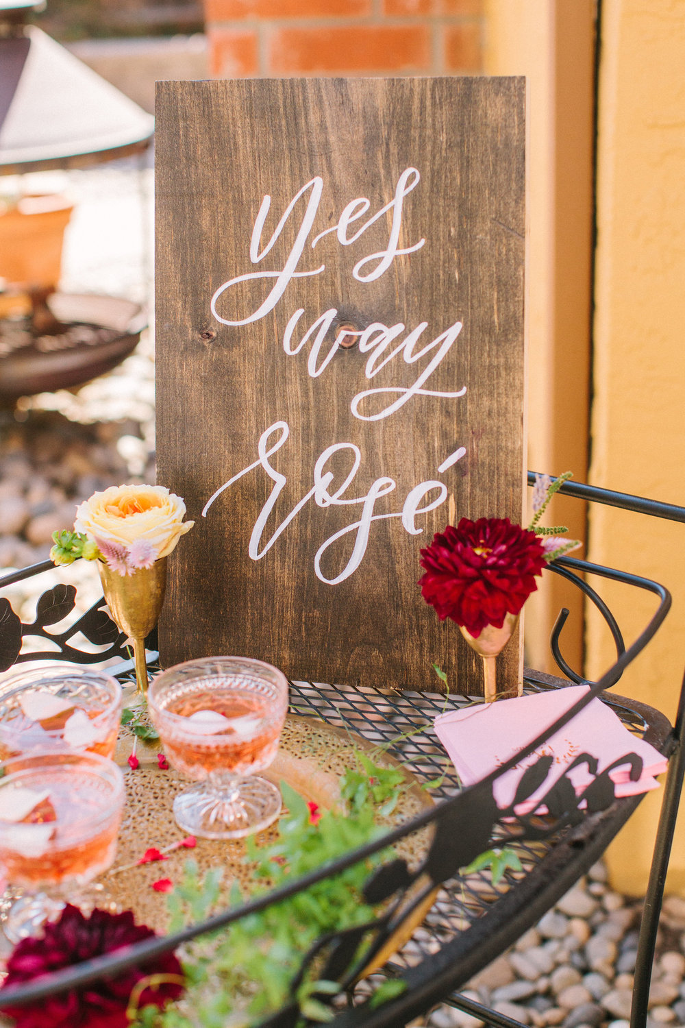 Yes Way Rosé hand lettered signage