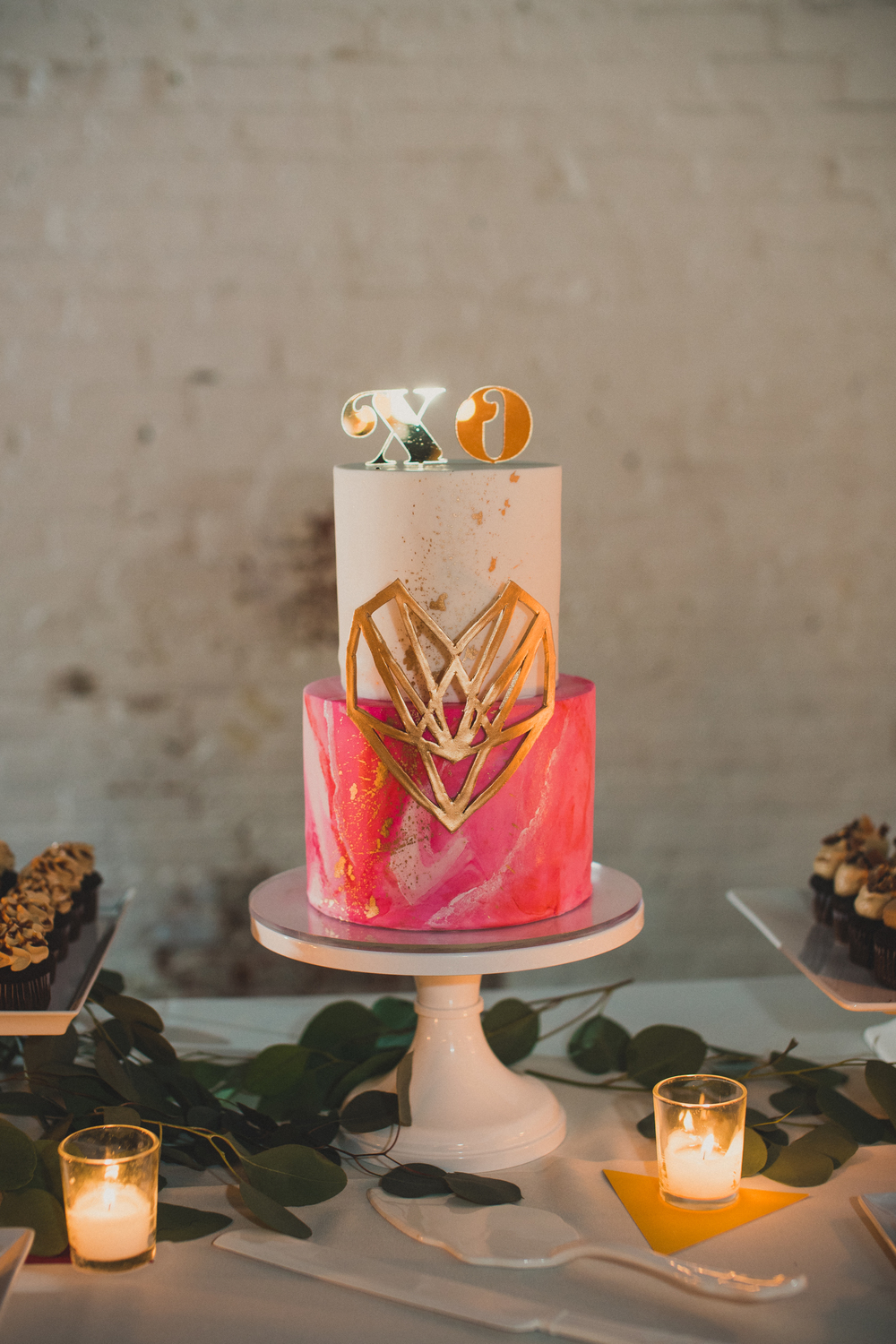 Hot pink art inspired wedding cake