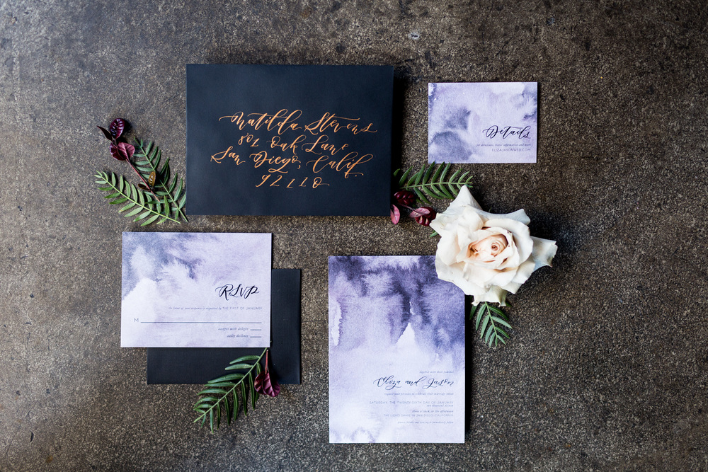 Dark and cloudy wedding invitation suite