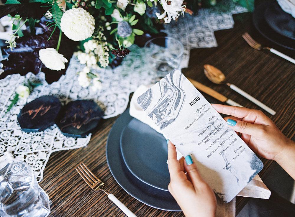 Marble wedding menus