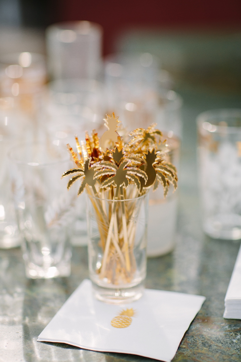 Gold tropical palm tree drink stirrers