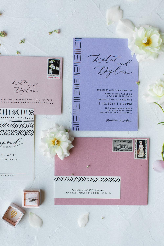 purple and pink wedding invitation