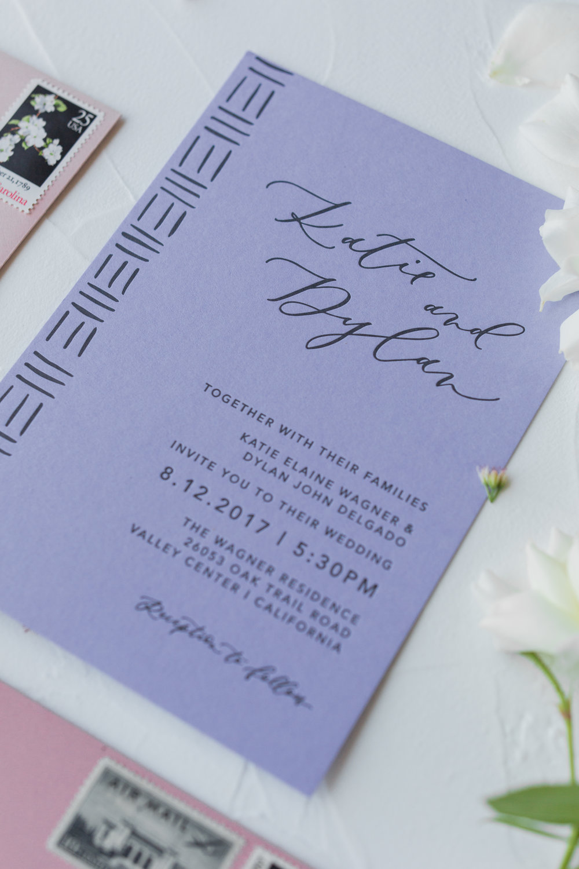 black and lavender letterpress invitation