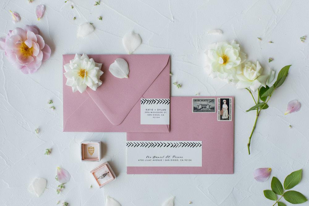 wedding invite envelope label wrap