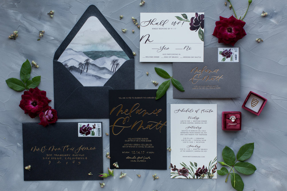 malibu wedding invitations