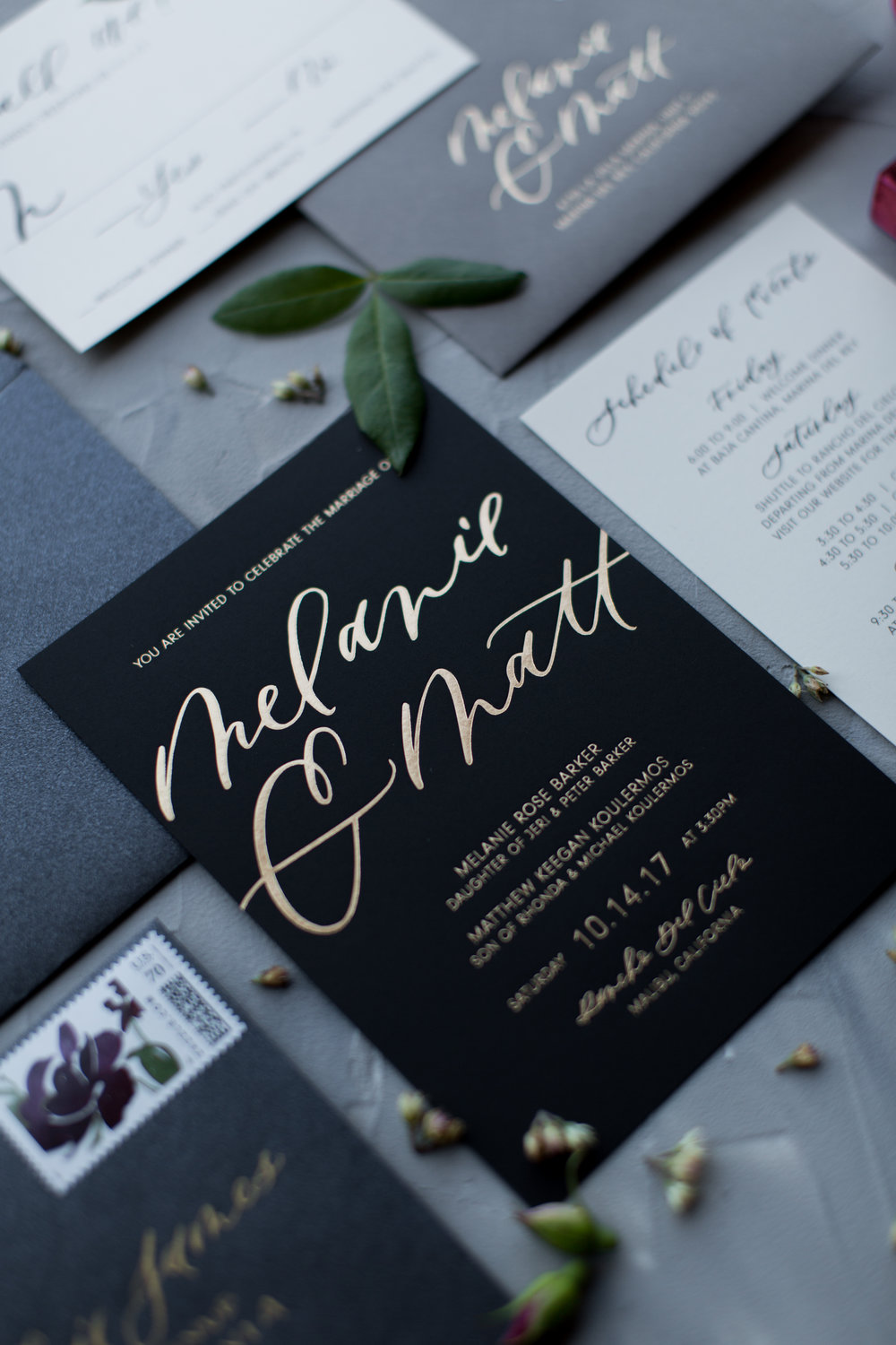 gold black burgundy wedding invitations